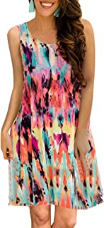 Women's Summer Casual Sleeveless Floral Printed Swing Dress Sundress with Pockets
