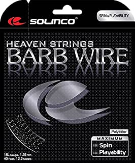 Solinco Barb Wire Textured and Ridged Poly (Polyester) 16/16L/17 Gauge Tennis Racquet String Sets in Multi-Packs - Best for Spin, Spin, and Durability (2-4-6-8-Packs)