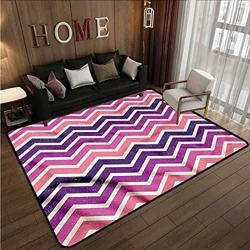 Bedroom Rug Purple and Pink Zig Zag Stripes Rustic Home Decor 3'3'x5'3'
