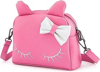 JAJADO Princess Shoulder Bag Cute Cat PU Leather Crossbody Bags Backpacks for Girls Kids Toddler Pink