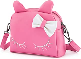 JAJADO Princess Shoulder Bag Cute Cat PU Leather Crossbody Bags Backpacks for Girls Kids Toddler Pink
