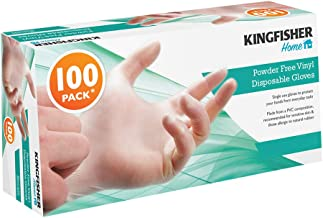 Kingfisher Powder Free Disposable Vinyl Gloves, Large - Pack of 100