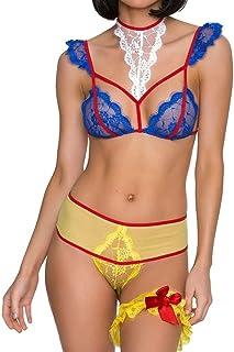 comprar comparacion Lenceria Erotica de Mujer Vestido Ropa Interior de Encaje de Color Sexy Conjunto Ropa Interior Atractivo Babydoll Lencería...
