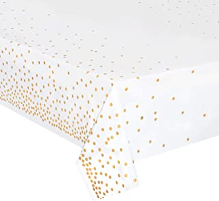 Plastic Tablecloths for Rectangle Tables,- 4 Pack - Gold Dot Party Table Cloths Disposable, Confetti Rectangular Table Covers, for Parties Thanksgiving Christmas Wedding, Anniversary,- 54