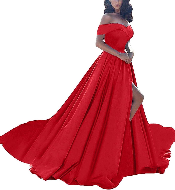 Falydal A Line Off The Shoulder Prom Dress Split Long Formal Evening Gown