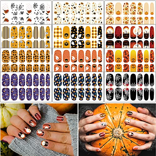 TailaiMei 12 Sheets Halloween Nail Wraps Adhesive Nail Art Stickers Full Wrap Strips with 2 pcs Nail Files for DIY Nail Decals (Pumpkin Style)