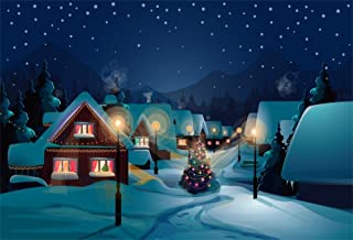 LFEEY 10x8ft Fairy Tale Snowscape Backdrop Winter Scene Snow Landscape Snowing Village Night Road Lamp Christmas Photography Background for Birthday Party Events Photo Studio Props