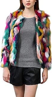 JESPER Women Winter Warm Thick Fluffy Coat Notch Collar Jacket Faux Fur Parka Outwear