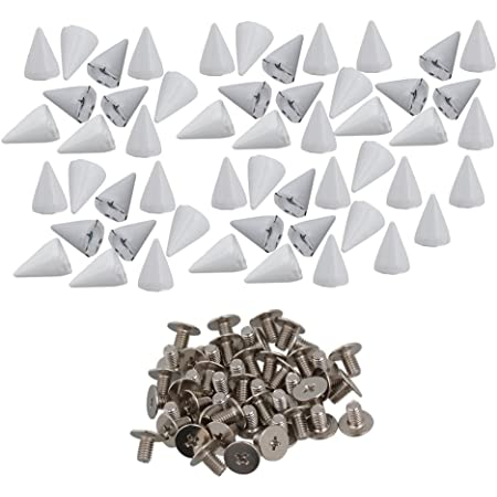 RDEXP Black Cone Spike and Studs Zinc Alloy Screw Back DIY Punk Rivet Spikes for Leathercraft Set of 50