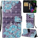 DodoBuy LG G8 ThinQ Hülle 3D Flip PU Leder Schutzhülle Stand Handy Tasche Brieftasche Wallet Hülle Cover für LG G8 ThinQ - Blume Blau