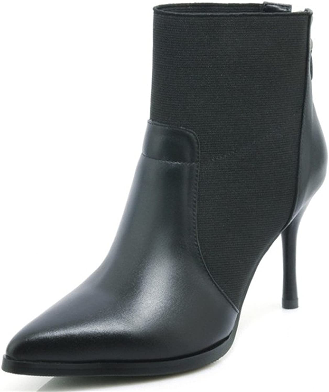 Nine Seven Genuine Leather Women's Pointed Toe Stiletto Heel Back Zip Handmade Retro Ankle Boots