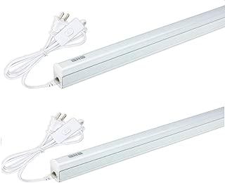 (Pack of 2) GRG LED T5 Integrated Single Fixture, 2Ft 10W 1100lm 6500K, Linkable Utility Shop Light, Garage Light, LED Ceiling & Under Cabinet Light, T5 T8 Fluorescent Tube Light Fixture Replacement
