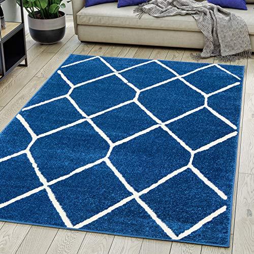 Carpeto Rugs Modern Teppich Skandinavisch Rauten Muster - Kurzflor Teppich für Wohnzimmer, Schlafzimmer, Kinderzimmer - Versch. Größen Pastell Farben Dunkelblau Blau 200 x 300 cm