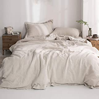 "Simple&Opulence 100% Washed Linen Duvet Cover with Embroidered,Queen Size(88""x 92""),3 Pieces Soft Farmhouse Comforter Set ..."