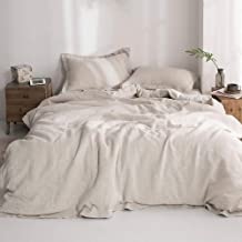 "Simple&Opulence 100% Washed Linen Duvet Cover Set with Embroidered,King Size(104""x92""),3 Pieces Soft Hypoallergenic Comfor..."