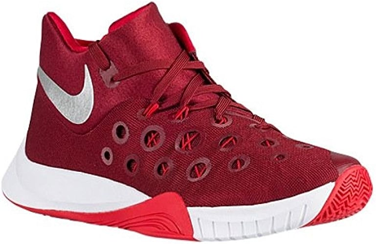 NIKE Men's Zoom Hyperquickness 2015 Basketball chaussures (4.5 D(M) US, Team rouge Metallic argent University rouge blanc)