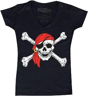 Pirate Buccaneer Costume Women's V-Neck T-Shirt Slim Fit