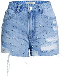 LUKEEXIN Women's Casual Frayed Raw Hem Ripped Distressed Denim Shorts