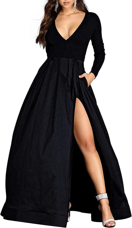 Prom Dress Long Sleeves Formal Evening Gowns with Split Satin Prom Dresses V Neck Evening Dresses