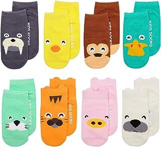 Calcetines de bebé Asbyfr. Calcetines con diseños impresos de animales de dibujos animados, calcetines con puños, antideslizantes, calcetines de bebés niñas y niños.