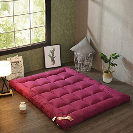 Comfortable Mattress Collapsible Plenty Thick Tatami Floor mat,Large Easy to carry33 Various Sizes Dorm Queen-King Washable Futon Mattress Topper-Creamy-White 135x200cm(53x79inch)