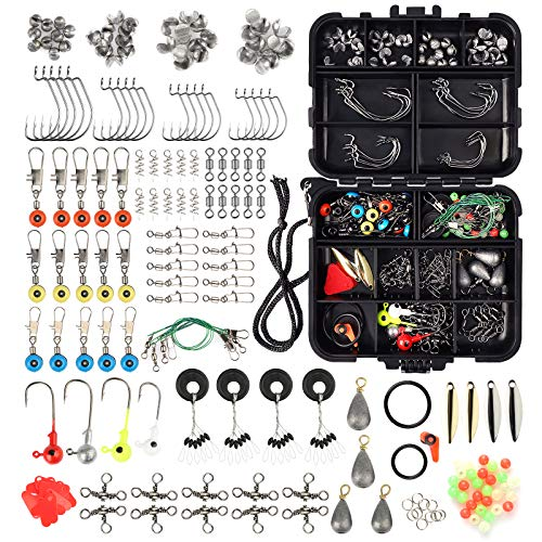 EEEKit 188PCS Fishing Accessories Kit, Including Jig Hooks, Bullet Bass Casting Sinker Weights, Fishing Swivels Snaps, Sinker Slides, Fishing Set with Tackle Box