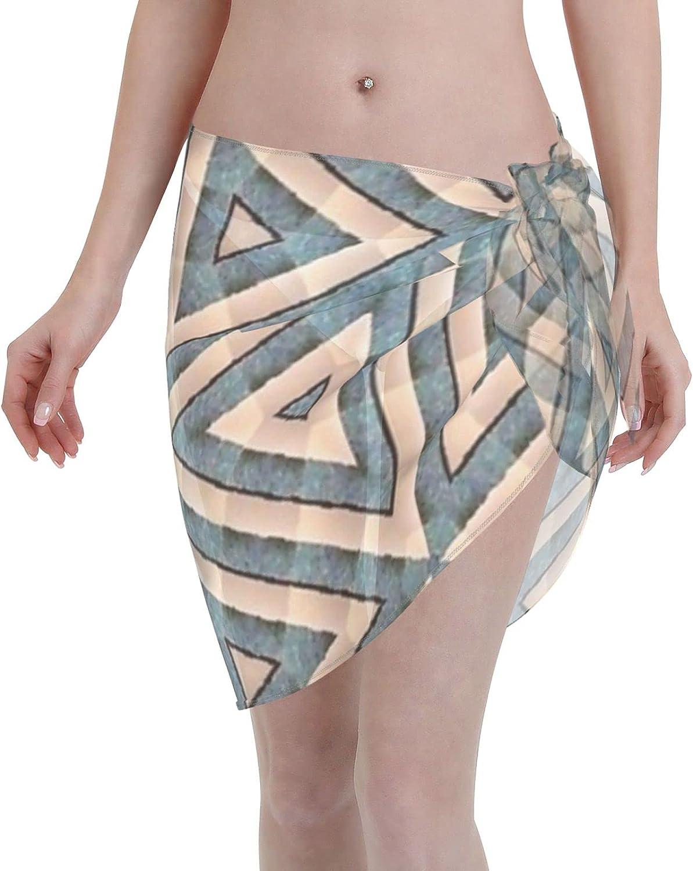 2053 pants Geometrical Pattern Overlay Beige Blue Design Women Chiffon Beach Cover ups Beach Swimsuit Wrap Skirt wrap Bathing Suits for Women