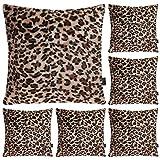 Juego de 6 fundas de almohada con estampado de leopardo, diseño de animales de felpa suave, funda de cojín decorativa para decoración del hogar, 50,8 x 50,8 cm (solo caja)