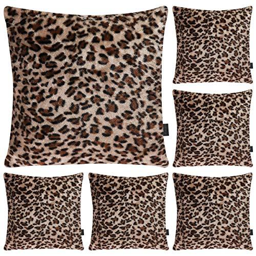 Hodeacc 6 pezzi fodere per cuscini serie leopardate stampate,morbido peluche a tema animale pelliccia sintetica decorativa federa per cuscino decorazioni per la casa,16x16 pollici (solo custodia)