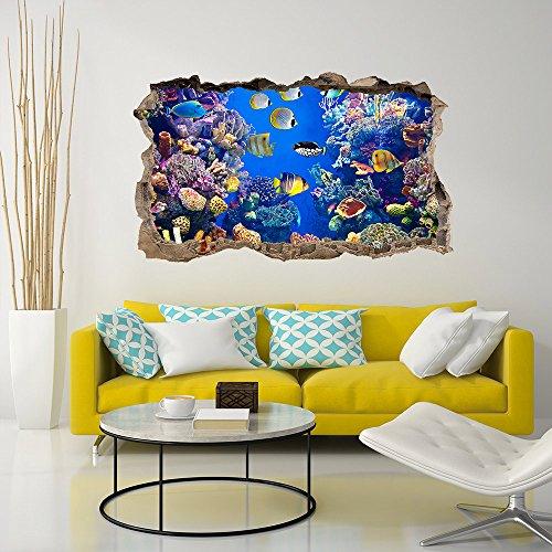 wall art 3DA0018 Adesivo murale Arredo Casa Acquario di Corallo 3D - Misure 110x65 cm - Decorazione Parete, Adesivi per Muro, Carta da Parati