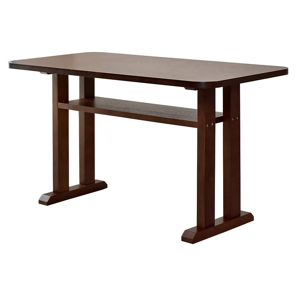 時計回りシャックル事前DORIS ダイニングテーブル テーブル 幅120cm 奥行60cm 天板厚保2.5cm 棚付き 角丸加工 組み立て式 ブラウン メゾン