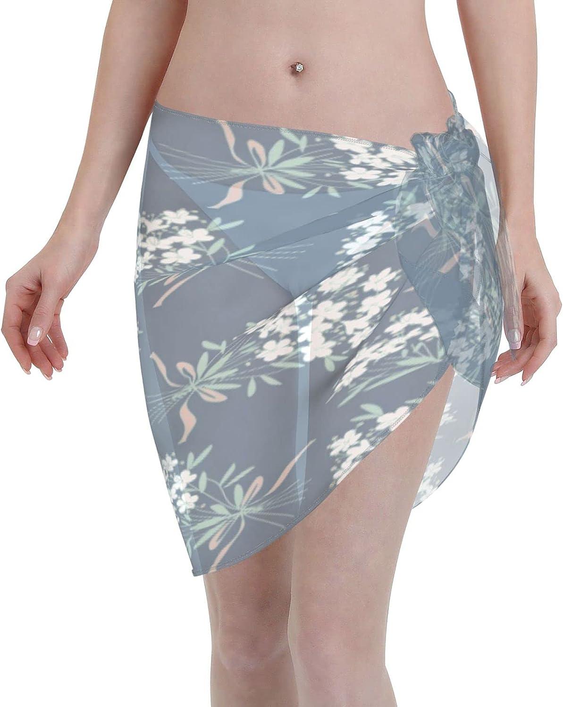 SALLYLOU Women Short Sarongs Beach Wrap,Women's Sheer Bikini Wraps Chiffon Cover Ups for Swimwear