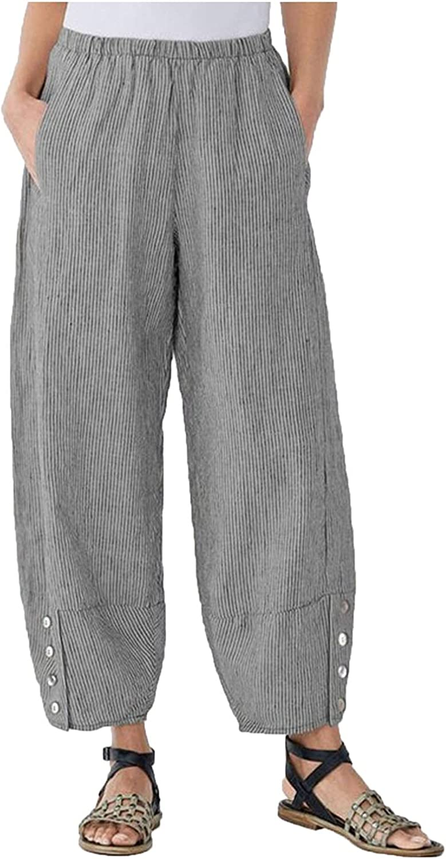 Womens Baggy Linen Wide Leg Pants Plus Size Pants Casual Elastic
