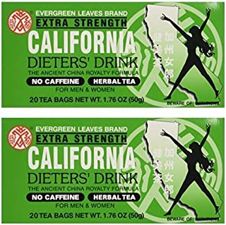 California Dieters` Drink Extra Strength Tea (Pack of 2 20-Count Boxes)
