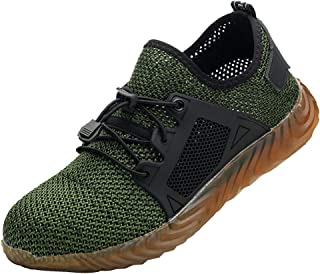 D DOLITY Steel Toe Work Shoes for Men Women Safety Shoes - Knit Breathable - Industrial Construction Shoes, Puncture-Proof, 3 Colors 8 Sizes Available - Green 8