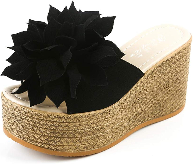 Btrada Women Sweet Open Toes Summer High Heel Slippers Ladies Slides Flowers Platform Wedges Sandals