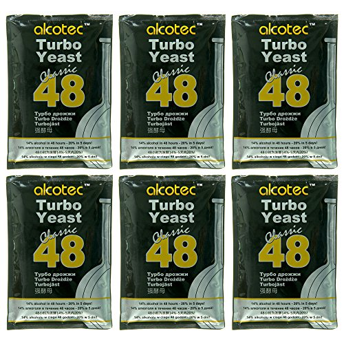 AlcoTec 6X Turbohefe 48h Classic, bis 21% Alkohol (6 Packungen)