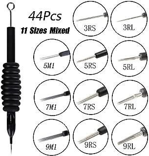 Samapet Tattoo Needles and Tubes Combo 44PCS Assorted Transparent Tattoo Tube with Pre-sterilized Tattoo Needles 3RL 5RL 7RL 9RL 3RS 5RS 7RS 9RS 5M1 7M1 9M1,for Tattoo Machine Kits Supplies