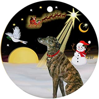 CafePress Nightflight/Brindle Greyhound Ornament (Round) Round Holiday Christmas Ornament