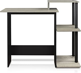 FURINNO 11192GYW/BK Efficient Home Laptop Notebook Computer Desk, Square Side Shelves, French Oak Grey/Black