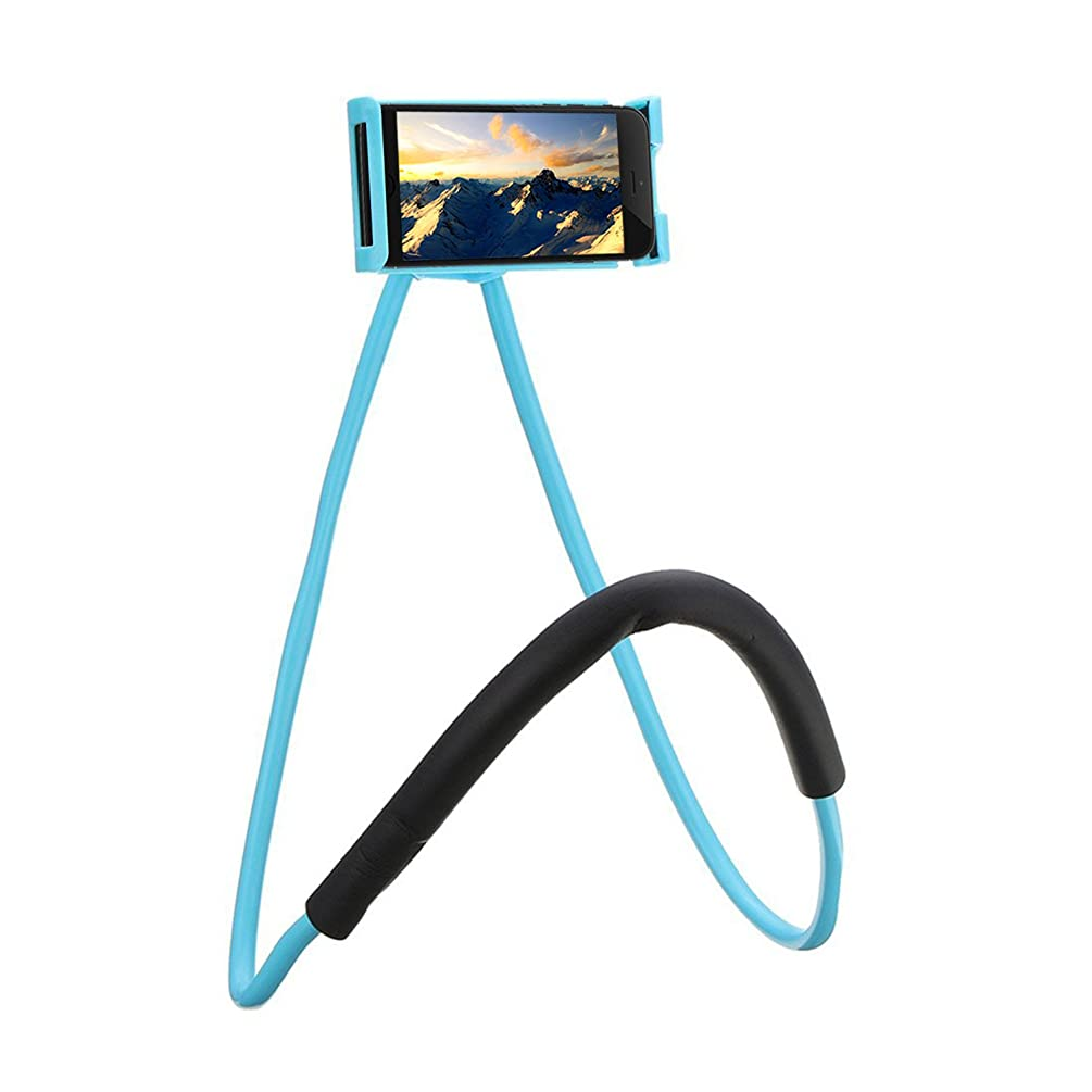 Neck Cell Phone Holder for Desk Bed,Bike and Motorcycle Phone Mount,Universal Lazy Bracket Mobile Phone Stand Holder (Blue)