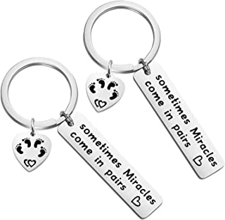 Sometimes Miracles Come in Pairs Matching Keychain Set Newborn Jewelry Gift For Twins New Parents