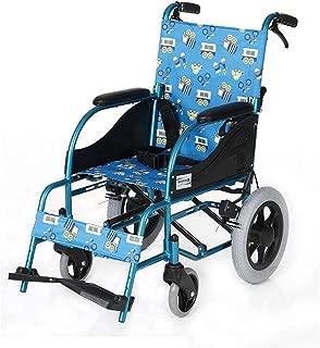 YASE-king 車椅子17キロ児童折り畳み式車椅子人間工学交通医療高度な快適なアームレストは、脚80キロロードベアリング36×40cmのシート幅FDGをバックアップします