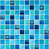 Ecoart 6 Piezas Decorativos Adhesivos para Azulejos Pegatina de Pared, Azulejos de Gel, Diseño de Mosaico de La Mar, Efecto 3D, Cenefa Autoadhesivo, para Baño y Cocina