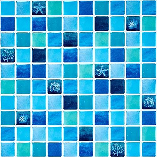 Ecoart Decorativos Adhesivos para Azulejos Pegatina de Pared, Azulejos de Gel, Diseño de Mosaico de La Mar, Efecto 3D, Cenefa Autoadhesivo, para Baño y Cocina