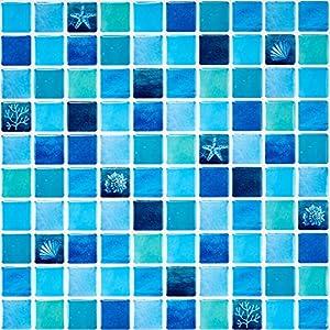 Ecoart Decorativos Adhesivos para Azulejos Pegatina de Pared, Azulejos de Gel, Diseño de Mosaico con Icono mediterráneo Azul, Efecto 3D, Cenefa Autoadhesivo, para Baño y Cocina