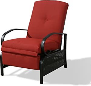 Iwicker Patio Outdoor Adjustable Recliner Chair with Cushion, Red