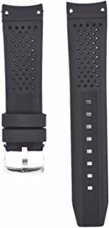 22mm Black Silicone Rubber Curved End Dive Watch Band Strap