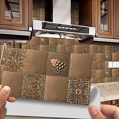 Azulejos Adhesivos Mandala De Uva Dorada Vinilos Cocina AzulejosAntisalpicadurasRollos Adhesivos para Azulejos de Cocina Vinilos de Pared Decorativos VinilosBaño Vinilos Decorativos 12 piezas