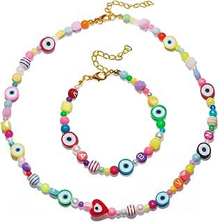 Fruit Evil Eye Choker Necklace Bracelet Set Pearl Rainbow Beads Clay Necklace Cute Handmade Y2K Necklace for Women Girls F...